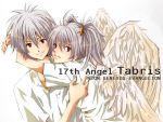 1girl angel couple genderswap grey_hair hug nagisa-a nagisa_kaworu neon_genesis_evangelion red_eyes shirt tabris tabris-xx twintails wings