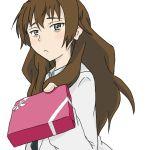 bad_id brown_eyes brown_hair holding holding_gift incoming_gift kiyama_harumi labcoat long_hair sukonbupikotan to_aru_kagaku_no_railgun to_aru_majutsu_no_index valentine