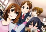black_hair book brown_eyes brown_hair dutch_angle hirasawa_ui hirasawa_yui k-on! long_hair manabe_nodoka manga_(object) meta nakano_azusa nukunuku pocky school_uniform short_hair suzuki_jun twintails