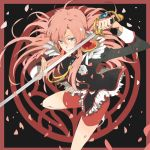 camelot epaulettes flower long_hair petals pink_hair rose school_uniform shoujo_kakumei_utena sword tenjou_utena weapon white_rose