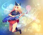 animal_ears boots darius darius_burst great_thing instrument jumping kara_(color) keytar long_hair no_panties pleated_skirt red_eyes silver_hawk skirt solo ti2