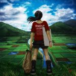 back_view black_hair boots bracelet canvas_(object) choker clothes_writing clothing_writing cloud eeotoko english field from_behind grass highres hill jewelry landscape long_hair oekaki_musume original pixiv ponytail realistic rice_paddy river rural scenery signature sky solo t-shirt