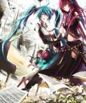 aqua_eyes aqua_hair armband blush detached_sleeves hatsune_miku hatsune_miku_(append) highres instrument long_hair megurine_luka miku_append multiple_girls notes open_mouth piano pink_hair sitting standing stu_dts twintails vocaloid vocaloid_append