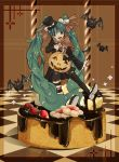 animal aqua_eyes aqua_hair bat black_legwear blush bow bridget00747 cake checkered chocolate cookie cos dice dress food fruit hair_ornament halloween hands happy hat hatsune_miku highres jack-o'-lantern large_bow legs long_hair mini_top_hat mismatched_legwear open_mouth pastry pumpkin strawberry striped striped_legwear thigh-highs thighhighs top_hat twintails vocaloid