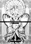 barefoot bow butterfly chicktack_clock closed_eyes cover dress frills hair_bow hard_translated hat highres long_hair long_sleeves looking_down monochrome multiple_girls outstretched_arms ribbon saigyouji_yuyuko short_hair smile spread_arms touhou translated wide_sleeves yakumo_yukari