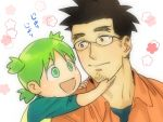black_hair child facial_hair glasses green_hair hand_on_chin icym jumbo koiwai_yotsuba open_mouth short_hair smile stubble yotsubato!