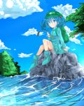 backpack bag blue_eyes blue_hair cattail cloud clouds hair_bobbles hair_ornament hat highres kawashiro_nitori key mouth_hold nature plant randoseru river rock short_hair sitting sky solo touhou tsukikusa