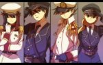 2boys 2girls adjusting_hat aiguillette alternate_costume alternate_hairstyle belt black_hair blonde_hair blue_(pokemon) blue_eyes braid brown_eyes brown_hair character_request column_lineup epaulettes gloves green_eyes gun handgun hat long_hair military military_uniform multiple_boys multiple_girls necktie ookido_green pistol pokemon pokemon_special red_(pokemon) red_eyes salute sam_browne_belt sword uniform weapon yellow_(pokemon) yui_ko