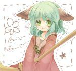>:) animal_ears bad_id broom bust dress green_eyes green_hair hetaling kasodani_kyouko long_sleeves shin_(hetaling) short_hair solo ten_desires touhou