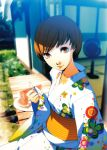 artbook blurry depth_of_field food fruit highres japanese_clothes kimono official_art persona persona_4 satonaka_chie short_hair soejima_shigenori watermelon yukata