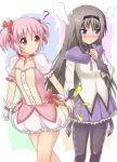 2girls ? akemi_homura bentoss_detritus black_hair blush bow bubble_skirt choker gloves hair_ribbon hairband hand_holding holding_hands kaname_madoka long_hair magical_girl mahou_shoujo_madoka_magica multiple_girls pantyhose pink_eyes pink_hair pleated_skirt puffy_sleeves purple_eyes ribbon short_twintails skirt steam twintails violet_eyes yuri