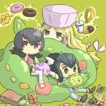 3girls bag cattleya_(pokemon) chibi doughnut food french_fries gym_leader hamburger hat long_hair multiple_girls munna natsume_(pokemon) natsume_(pokemon)_(hgss) paper_bag pokemon pokemon_(creature) pokemon_(game) pokemon_black_and_white pokemon_bw pokemon_gsc pokemon_hgss pokemon_rgby pokemon_rse ran_(pokemon) reuniclus sitting solosis telekinesis ueshita
