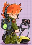 bag brief_(character) brief_(psg) freckles gun hair_over_eyes headphones headset jumpsuit official_style orange_hair panty_&_stocking_with_garterbelt psg-1 randoseru rifle shoes sneakers sniper_rifle toriny weapon