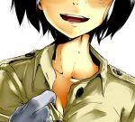 aoi_hana_(oumagadoki_doubutsuen) black_hair bob_cut character_request close-up collarbone gloves head_out_of_frame hot oumagadoki_doubutsuen short_hair sweat sweating taichi_(tomo) tomo_(pixiv245623)