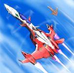 airplane bad_id canards flying isamu_dyson jet macross macross_frontier macross_frontier:_sayonara_no_tsubasa masatoshi mecha oekaki s.m.s. saotome_alto spoilers yf-19 yf-29