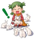 720 albino anus bunny child closed_eyes eyes_closed green_hair hakkatou happy koiwai_yotsuba quad_tails rabbit raglan_sleeves scarf short_hair smile squatting yotsubato!