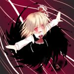 blonde_hair blush bow darkness fang hair_bow hair_ribbon open_mouth outstretched_arms razy_(skuroko) red_eyes ribbon rumia short_hair smile solo the_embodiment_of_scarlet_devil touhou youkai