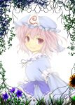 blue_dress blush bunchou_(bunchou3103) bust dress flower_field hat highres pink_eyes pink_hair saigyouji_yuyuko smile solo touhou vines