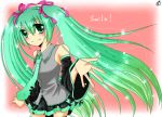 bare_shoulders blush budou829 detached_sleeves green_eyes green_hair hatsune_miku long_hair necktie outstretched_arm skirt smile solo twintails vocaloid