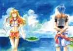 beach beads blonde_hair blue_hair chrono_cross facial_mark hair_down island jewelry kid_(chrono_cross) long_hair midriff mihoka necklace serge short_hair skirt smile translated translation_request