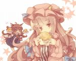bat_wings bow bust cream_puff crescent dress eating food hair_bow hat head_wings holding koakuma long_hair masirosu multiple_girls patchouli_knowledge pink_hair plate purple_eyes red_eyes red_hair redhead star the_embodiment_of_scarlet_devil touhou violet_eyes wings