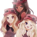 3girls :o ;d bare_shoulders black_hair blonde_hair blue_eyes breasts brown_eyes brown_hair dark_skin female_protagonist_(pokemon_xy) grey_eyes hat long_hair multiple_girls multiple_persona open_mouth pokemon pokemon_(game) pokemon_xy smile sunglasses sunglasses_on_head warrose wink