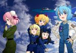 airplane black_hair blonde_hair blue_eyes blue_hair bun_cover canards cirno cloud clouds crossed_arms drill_hair fighter_jet hair_bun hair_ribbon hands_on_hips ibara_kasen ibaraki_kasen jet jumpsuit luna_child mig-29 military military_uniform multiple_girls necktie open_mouth patch pink_hair prosthesis red_eyes ribbon sakurato_tsuguhi short_hair short_twintails sky star_sapphire sunny_milk touhou twintails uniform