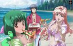 ai-kun alien beach blonde_hair blue_eyes blue_hair breasts brown_eyes cleavage eating food green_hair highres jewelry long_hair macross macross_frontier nail_polish navel official_art pizza pizza_hut ponytail product_placement ranka_lee red_eyes saotome_alto sheryl_nome short_hair single_earring swimsuit vajra wallpaper
