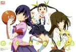 3girls absurdres bakemonogatari bandages bandaid basketball black_hair blush brown_hair fang hachikuji_mayoi hair_ribbon highres kanbaru_suruga legs long_hair looking_at_viewer matsuura_riki monogatari_(series) multiple_girls official_art open_mouth orange_eyes ponytail ribbon school_uniform sengoku_nadeko smile socks twintails