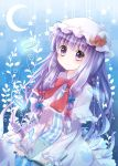 1girl hat long_hair murasaki-neko patchouli_knowledge purple_hair solo touhou violet_eyes