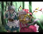 artist_request bad_id blonde_hair bow braid closed_eyes corset flandre_scarlet forest hat highres izayoi_sakuya kurohal letterboxed maid maid_headdress multiple_girls nature red_eyes shade short_hair side_ponytail silver_hair thigh_strap touhou twin_braids wings