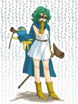 boots cape circlet cosplay curly_hair dragon_quest dragon_quest_iii dragon_quest_iv dress gloves green_hair heroine_(dq4) hoimi_slime lowres nao_(moji) purple_eyes sage_(dq3) sage_(dq3)_(cosplay) sage_(dq3)_cosplay short_hair staff violet_eyes