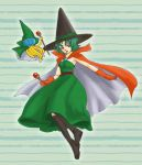 cape cosplay curly_hair dragon_quest dragon_quest_iii dragon_quest_iv dress gloves green_hair hat heroine_(dq4) hoimi_slime mage_(dq3) mage_(dq3)_(cosplay) mage_(dq3)_cosplay nao_(moji) purple_eyes short_hair smile violet_eyes wand wizard_hat