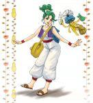 bracelet cosplay curly_hair dragon_quest dragon_quest_iii dragon_quest_iv earrings facial_hair green_hair heroine_(dq4) hoimi_slime jewelry merchant_(dq3) merchant_(dq3)_(cosplay) merchant_(dq3)_cosplay mustache nao_(moji) overalls purple_eyes sandals short_hair short_ponytail smile turban vest violet_eyes wings