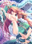 aura beret blue_eyes braid breasts dragon eastern_dragon ex-meiling fighting_stance hat highres hong_meiling kinntarou large_breasts long_hair red_hair redhead solo touhou twin_braids