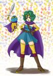 cape circlet cosplay curly_hair detached_sleeves dragon_quest dragon_quest_iii dragon_quest_iv dress gloves green_hair hands_on_hips heroine_(dq4) hoimi_slime nao_(moji) purple_eyes roto roto_(cosplay) roto_cosplay short_hair sword thigh-highs thighhighs violet_eyes weapon zettai_ryouiki