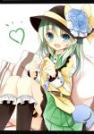 1girl amaretto-no-natsu blue_eyes blush eyeball fang flower green_hair hat heart jewelry komeiji_koishi looking_at_viewer necklace open_mouth short_hair silver_hair skirt smile solo third_eye touhou wide_sleeves