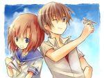 1girl blue_eyes brown_hair couple hanon_mizushiro higurashi_no_naku_koro_ni maebara_keiichi open_mouth paper_airplane ryuuguu_rena school_uniform serafuku short_hair sky smile wink