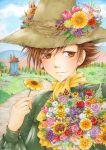 bouquet brown_eyes brown_hair bust dark-persian flower hat hat_flower male marker_(medium) moomin nyki rose scarf signature sky snufkin sunflower traditional_media tulip