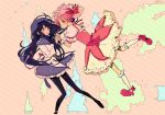 akemi_homura black_hair bubble_skirt hand_holding highres holding_hands kaname_madoka long_hair magical_girl mahou_shoujo_madoka_magica multiple_girls pantyhose pikaro pink_hair shoes short_hair tears twintails