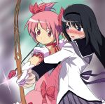 akemi_homura arrow black_hair blush bow_(weapon) deathmegane derivative_work gloves hair_ribbon hairband kaname_madoka long_hair magical_girl mahou_shoujo_madoka_magica multiple_girls pink_eyes pink_hair purple_eyes ribbon short_hair short_twintails twintails violet_eyes weapon white_gloves