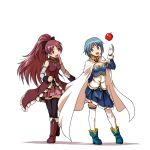 :d apple arm_behind_back blue_eyes blue_hair boots bow cape cloak elbow_gloves food fruit gloves hair_bow kaneko_tsukasa long_hair magical_girl mahou_shoujo_madoka_magica miki_sayaka multiple_girls open_mouth pleated_skirt ponytail red_eyes red_hair redhead sakura_kyouko short_hair simple_background skirt smile thigh-highs thighhighs