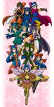 anklet armor asymmetrical_clothes asymmetrical_clothing bandana bandanna belt blue_eyes blue_hair blush boots bow bracelet cape circlet closed_eyes cosplay detached_sleeves dragon_quest dragon_quest_i dragon_quest_ii dragon_quest_iii dragon_quest_iv dragon_quest_ix dragon_quest_v dragon_quest_vi dragon_quest_vii dragon_quest_viii earrings eyes_closed fingerless_gloves flora gloves goggles hair_bow halo hat helmet hero_(dq1) hero_(dq1)_(cosplay) hero_(dq4) hero_(dq4)_(cosplay) hero_(dq5) hero_(dq5)_(cosplay) hero_(dq6) hero_(dq6)_(cosplay) hero_(dq7) hero_(dq7)_(cosplay) hero_(dq8) hero_(dq8)_(cosplay) heroine_(dq4) heroine_(dq4)_(cosplay) heroine_(dq9) heroine_(dq9)_(cosplay) highres jewelry long_hair nika_(20090103-sta) prince_of_lorasia prince_of_lorasia_(cosplay) roto roto_(cosplay) single_glove skirt smile thigh-highs thighhighs turban wings wink