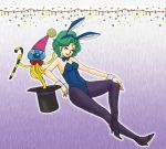 blue_legwear bowtie breasts bunny_ears bunny_girl bunny_tail bunnysuit cane cleavage closed_eyes cosplay curly_hair dragon_quest dragon_quest_iii dragon_quest_iv eyes_closed green_hair hat heroine_(dq4) high_heels hoimi_slime jester_(dq3) jester_(dq3)_(cosplay) jester_(dq3)_cosplay lowres nao_(moji) pantyhose party_hat shoes short_hair smile tail wrist_cuffs