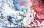 akashio_(loli_ace) blue_eyes blue_hair cape collaboration long_hair magical_girl mahou_shoujo_madoka_magica mari_audio miki_sayaka multiple_girls red_eyes red_hair redhead sakura_kyouko