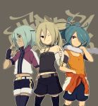 afuro_terumi alternate_costume alternate_hairstyle bad_id bare_shoulders blonde_hair blue_hair brown_eyes crossdressing dark_skin eyepatch fingerless_gloves frown gloves grey_hair hair_over_one_eye inazuma_eleven inazuma_eleven_(series) kazemaru_ichirouta laphy long_hair midriff multiple_boys off_shoulder ponytail rapi_(artist) red_eyes sakuma_jirou scarf short_hair shorts smile thigh-highs thighhighs trap white_hair wink