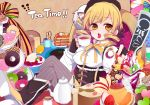 7tsume apple baumkuchen beret blonde_hair boots breasts butter cake cherry crossed_legs cup detached_sleeves doughnut drill_hair feast fingerless_gloves food fruit gloves gun hair_ornament hat ice_cream kiwifruit legs_crossed lemon magical_girl magical_musket mahou_shoujo_madoka_magica open_mouth pancake parfait pie pleated_skirt pudding puffy_sleeves ribbon rifle sitting skirt solo strawberry tea teacup teapot thigh-highs thighhighs tiered_tray tomoe_mami tray weapon yellow_eyes