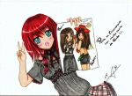 anime-girl blue_eyes blush cute open_mouth original red_hair redhead solo traditional traditional_media v