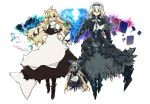 3girls alice_margatroid alternate_costume alternate_eye_color alternate_hair_color beru blonde_hair blue_eyes book boots bow doll dress fingerless_gloves gloves hair_bow highres key kirisame_marisa long_hair multiple_girls necktie ofuda shanghai_doll smile spell_card touhou wink yellow_eyes