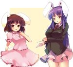 animal_ears blazer breast_hold breasts brown_hair bunny_ears bunny_tail carrot dress finger_gun impossible_clothes impossible_clothing impossible_shirt inaba_tewi ippongui jewelry large_breasts long_hair lowres miniskirt multiple_girls necktie pendant purple_hair red_eyes reisen_udongein_inaba shirt short_hair skirt tail tongue touhou very_long_hair
